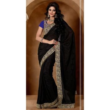 Stylish Black Jacquard Party Wear Saree - Sarees - Womens Clothing - TheEthnicWear