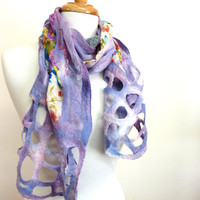 Lavender Floral Scarf. Wool and Silk Felt Scarf. Womens Fashion Nuno Felted Scarves