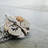 Dragonfly Fire -- Silver Steampunk Watch Movement Necklace