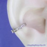 Cubic Zirconia silver ear cuff - 925 Sterling Band with CZ earcuff for men and women