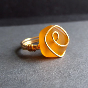 Pumpkin Orange Sea Glass Ring:  24K Gold Wire Wrapped Tangerine Tango Autumn Beach Jewelry, Size 6