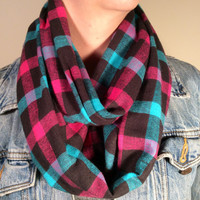 Handmade Infinity Scarf Plaid Flannel - Double Layer Super Warm!  Back to School, Hot Pink, Black and Teal, Christmas Present