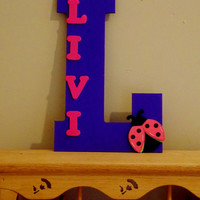 Children's Nursery Monogram. First Name Wooden Letter. Ladybug Nursery Decor.