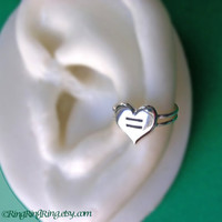 Equal Love Heart silver ear cuff earring jewelry - 925 sterling earcuff - Show your support for gay marriage and equal rights - Left  072012