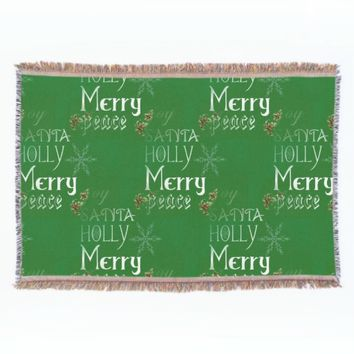 Merry Holiday Green Throw Blanket