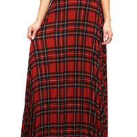 Plaid Pleat Maxi Skirt | Trendy Clothes at Pink Ice