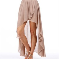 Mocha Hi Low Hem Wrap Skirt