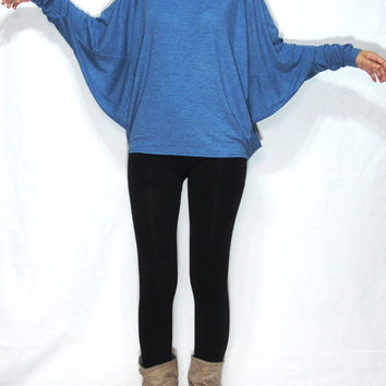 Women Dolman Sleeves Blouse, Long Sleeves Blue Blouse, Oversized Women Top, Loose Blue Casual Top, Wide Neck Blue Tee, Batwing Sleeves Top
