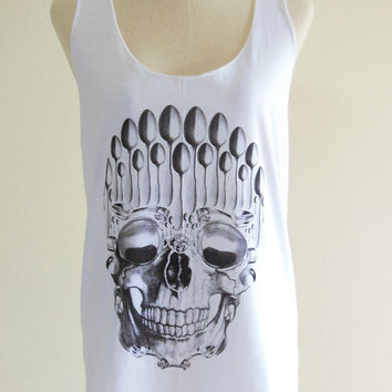 Skull Spoon Zombie Bone Goth Gothic  -- Skull Design Art Shirt Women Tank Top Tunic Skull T-Shirt White T-Shirt Size S, M