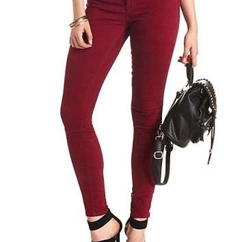"Refuge ""Skin Tight Legging"" Colored Skinny Jeans - Oxblood"