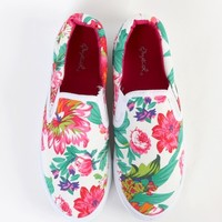 Qupid Zing-02 Floral Print Slip On Sneakers | MakeMeChic.com