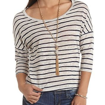 Zipper-Back Striped High-Low Top by Charlotte Russe - Ivory Combo