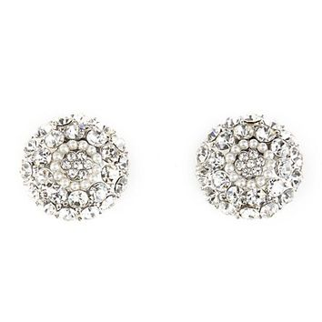 Rhinestone & Pearl Button Earrings by Charlotte Russe - Silver