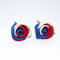 Red, Blue and White Rose Polymer Clay Earrings - by sew340 on madeit
