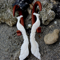 Fake Gauge Earrings , White Bone ,wood Split Gauge Earrings, phoenix ,tribal style,fake piercings,organic