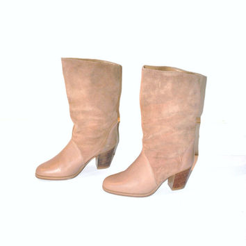 size 7 BOHO cowboy boots / vintage 1980s nude leather SOUTHWESTERN minimalist slip on tall winter BOOTIES