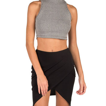 High Neck Ribbed Cropped Tank - Gray - Gray /