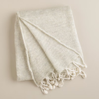 White Pom-Pom Luxe Knit Throw - World Market