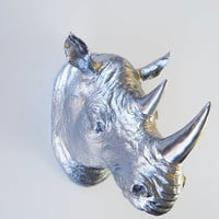 The Haxton - Opulent Silver Resin Rhino Head- Rhino Resin White Faux Taxidermy- Chic & Trendy