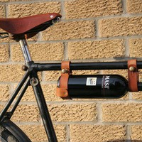 "Bicycle Wine Rack, Leather  - 1"" frame"