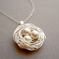 Bird Nest Necklace white and sterling silver