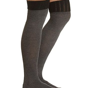 Color Block Over-the-Knee Socks by Charlotte Russe