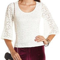 Kimono Sleeve Lace Top by Charlotte Russe