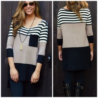 Earn Your Stripes Taupe Color Block Top