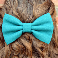 Solid Color Linen-Look Hair Bows