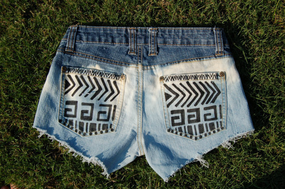 Tribal Print Ombre Bleached Denim Cutoff Shorts size 24
