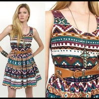 Vintage SouthWestern TRIBAL Aztec Native Print Cotton Mini Sun Dress XS/S
