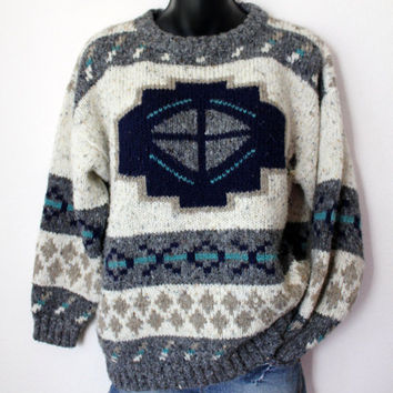 Vtg Knit Grandpa Lodge Sweater Native aztec Jumper M