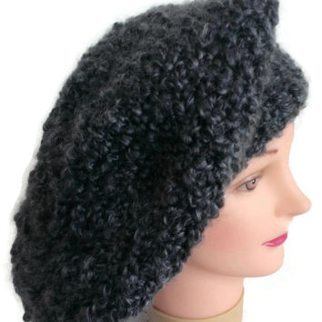 Handmade Gray with Subtle Hints of Blue Warm Fuzzy Hat, Winter Hat, Snow Hat, Slouchy, French Beret