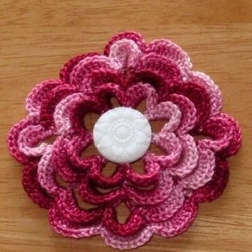 Shaded Garnet Red 3D Rose Flower Pin or Brooch - or Applique
