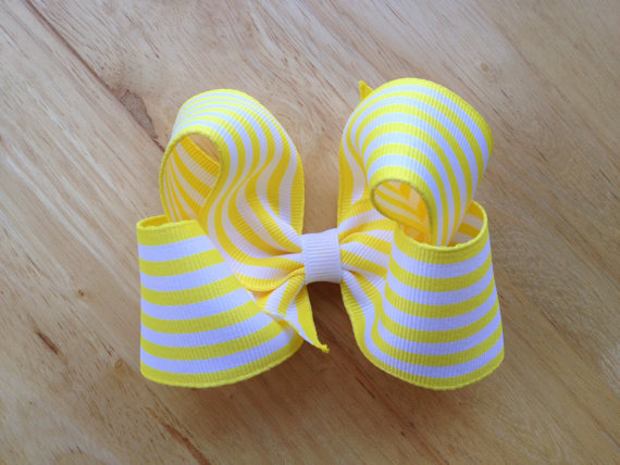 Yellow and white striped hair bow - yellow white bow, striped bow