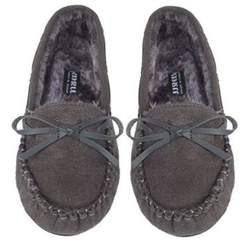 Elegant Women's Casual Faux Suede Grey Moccasin Loafers