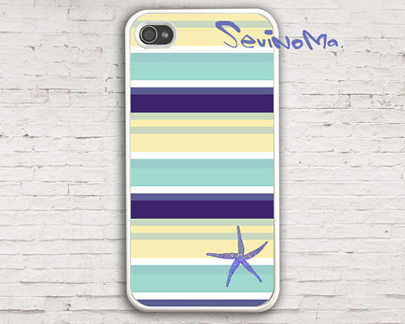 iPhone 4 Case, Nautical Stripes Starfish iPhone 4 Case, palette Design iphone hard case for iphone 4, iphone 4S