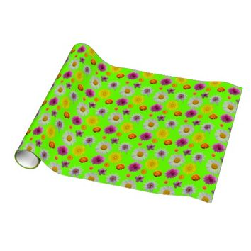Green Floral Wrapping Paper