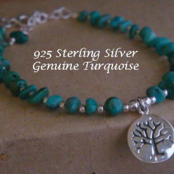 Tree of Life Bracelet with Turquoise and 925 Beads & 925 Sterling Silver Tree of Life Pendant Charm - Turquoise Tree of Life Bracelet 014