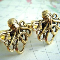 Gold Octopus Cufflinks The Original From Cosmic by CosmicFirefly