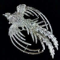 Phoenix Bridal Hairclip, Swarovski Jewelry, Legendary Bird - PHOENIX