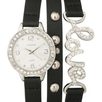 Faux leather embellished wrap watch