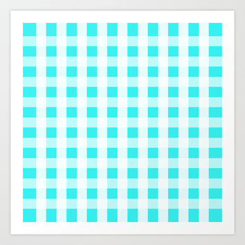 Plaid Flannel Turquoise Mint Art Print by Beautiful Homes