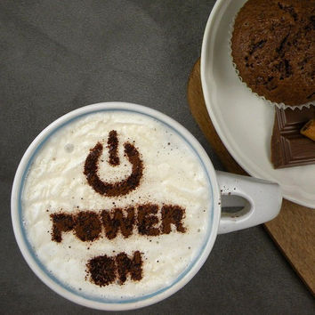 Power ON - coffee stencil, cake stencil, cupcake stencil