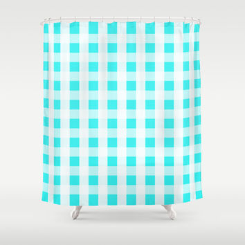 Plaid Flannel Turquoise Mint Shower Curtain by Beautiful Homes