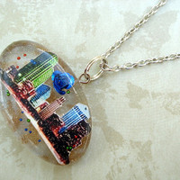 Cityscape Colorful Rose Resin Chain Necklace