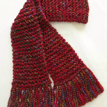 Red Multicolor Scarf Extra Long Chunky Knit Men Women Knitted Winter Scarf 10 ft long