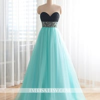 Custom Made Beaded Bodice Mint Blue Prom Dress Long Homecoming Dress Long Prom Dress Formal Dress celebrity Dress