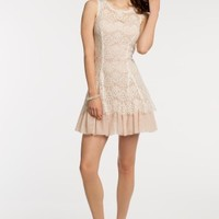 Two Tone Lace Dress with V-Back
