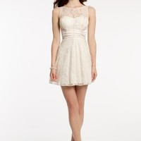 Lace Illusion Dress with Pleated Cummerbund